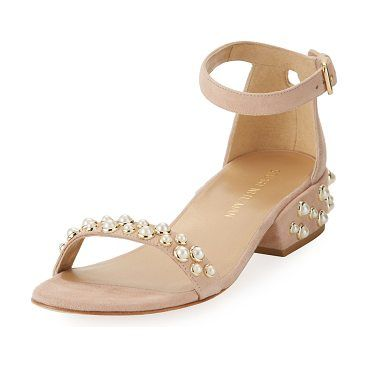 339b395e58362d Stuart Weitzman suede d Orsay sandal with pearly studs. 1.5