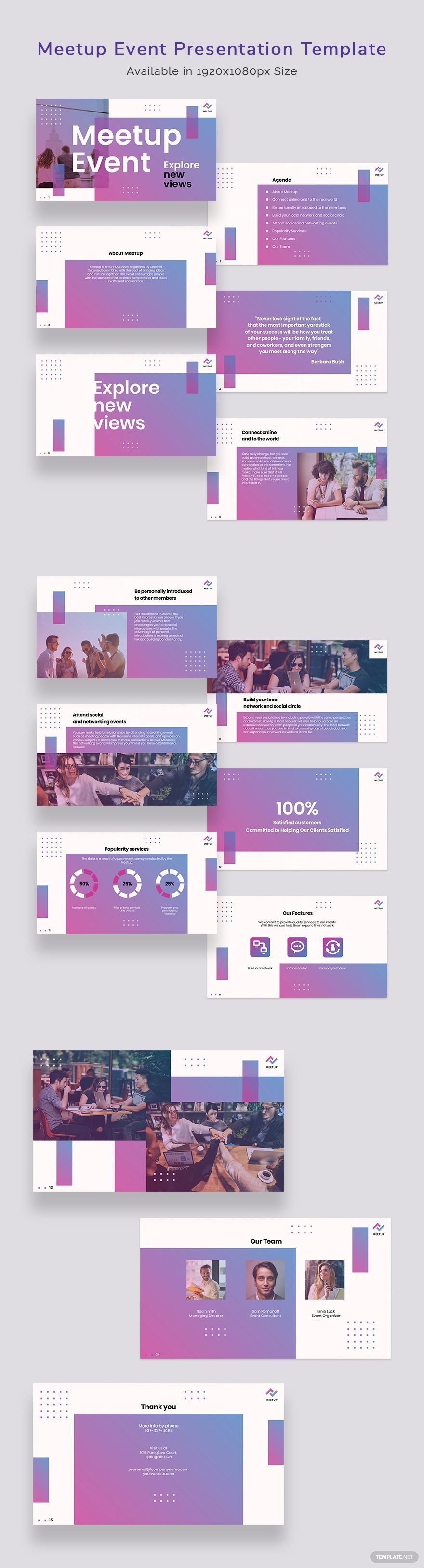 Meetup Event Presentation Template Pdf Word Apple Pages Google Docs Powerpoint Apple Keynote Google Slides Event Poster Template Presentation Templates Event Invitation Templates