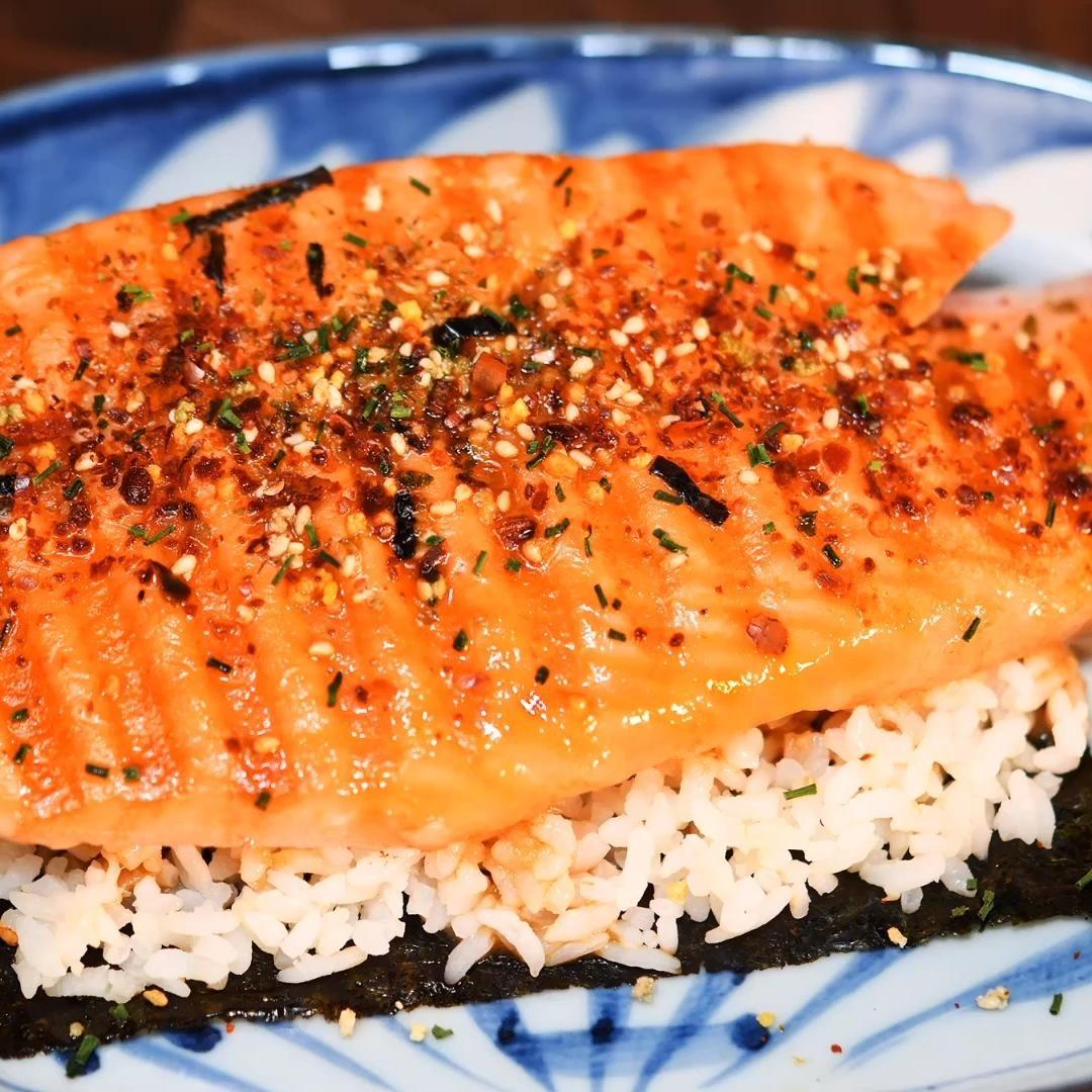 Panini Grilled Chilean Salmon with Furikake and Go