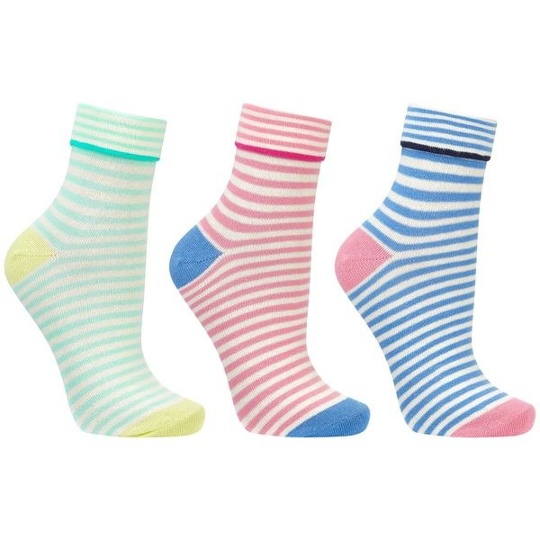 John Lewis Turn Over Stripe Ankle Socks, Pack of 3, Multi (83 NOK) ❤ liked on Polyvore featuring intimates, hosiery, socks, tennis socks, stripe socks, short socks, john lewis hosiery and striped socks