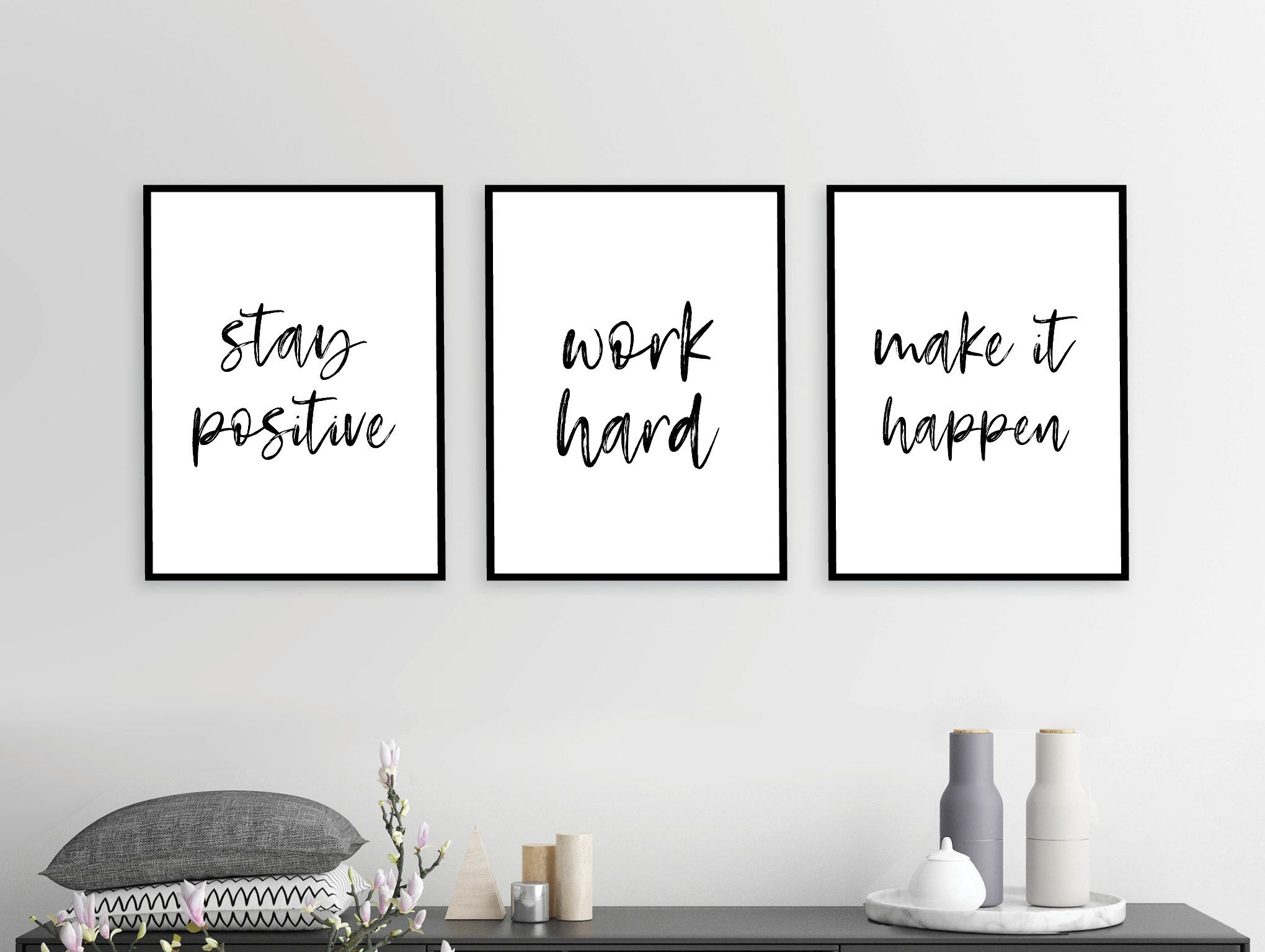 Stay Positive Work Hard Bedroom Wall Art Home Decor Etsy Work Office Decor Bedroom Wall Art Office Decor Professional