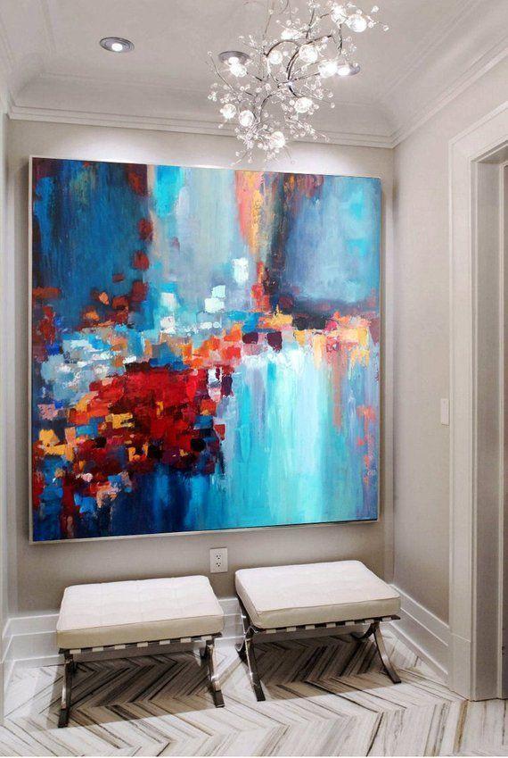 grosses gemalde auf leinwand oversize malerei bunte blaue rote abstrakte original dine ro blau 120x60 günstig bedrucken
