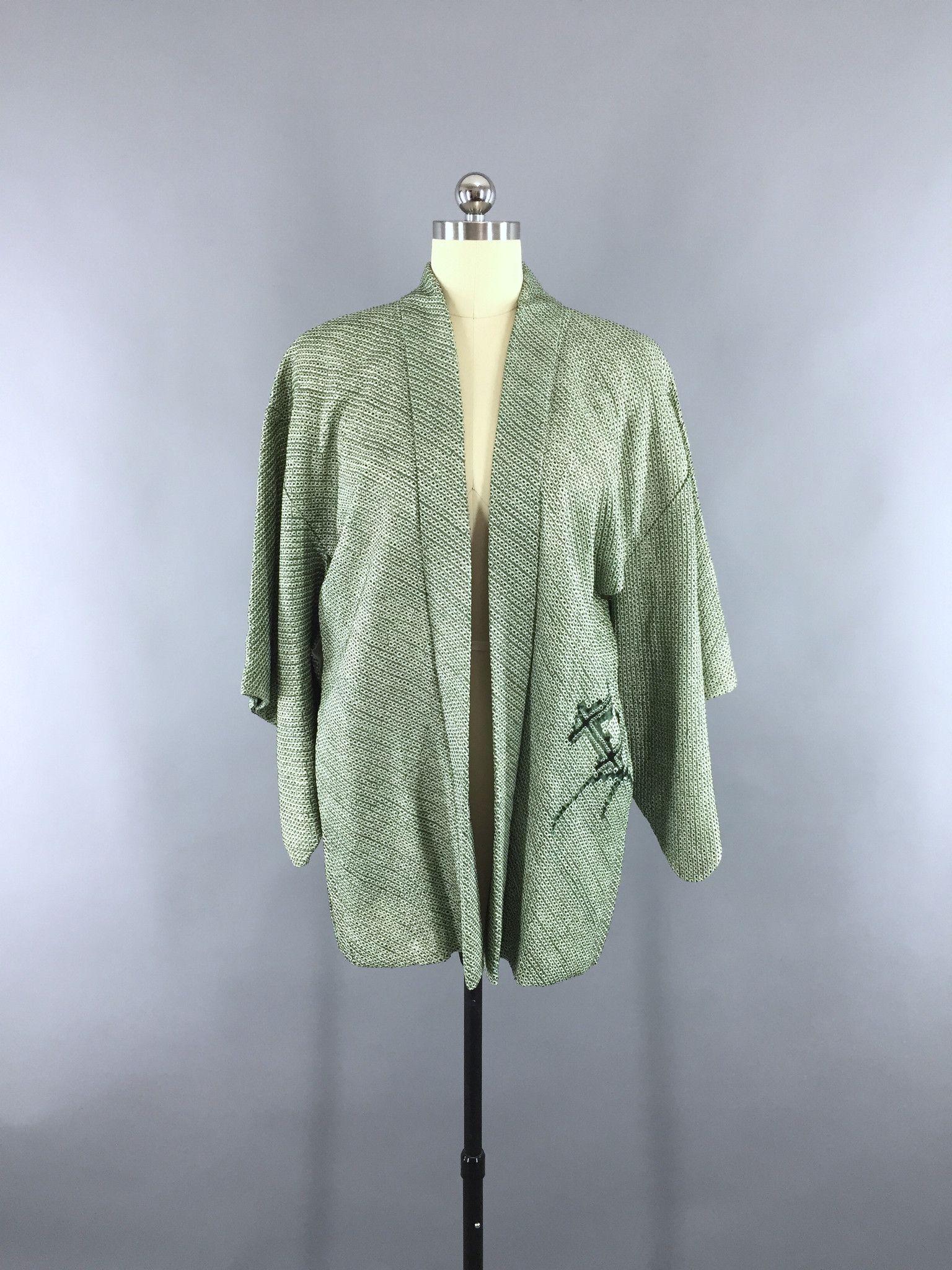 1960s Vintage Silk Haori Kimono Cardigan Jacket with Dark Forest ...