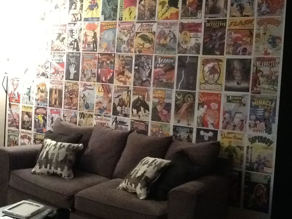 Comic Book Wall In Living Room Comic Book Rooms Geek Room