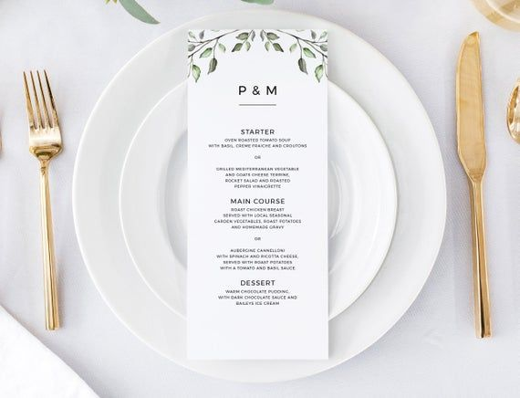 Greenery wedding menu template -  Rustic wedding menu - Rustic wedding - Editable menu - Instant download #weddingmenutemplate