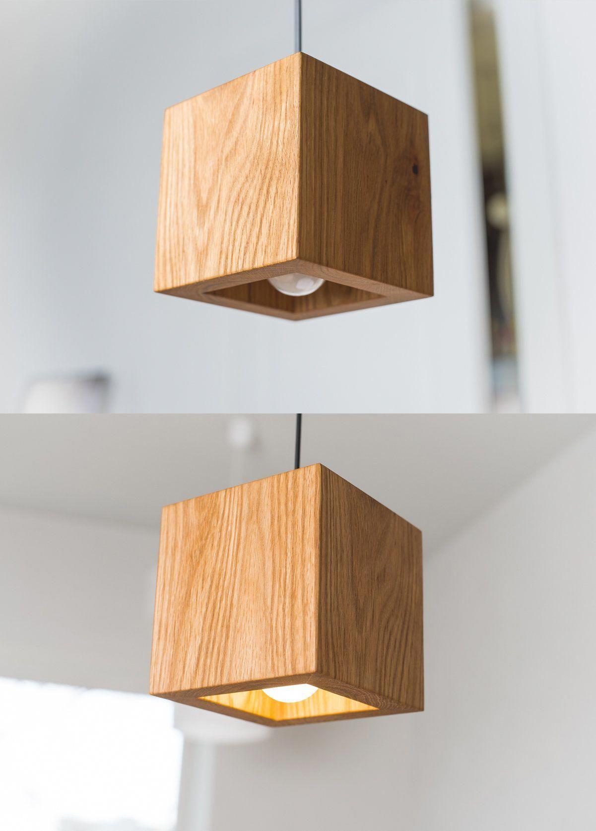 Pendant Light Q 372 Handmade Natural Oak Wooden Ceiling Lamp