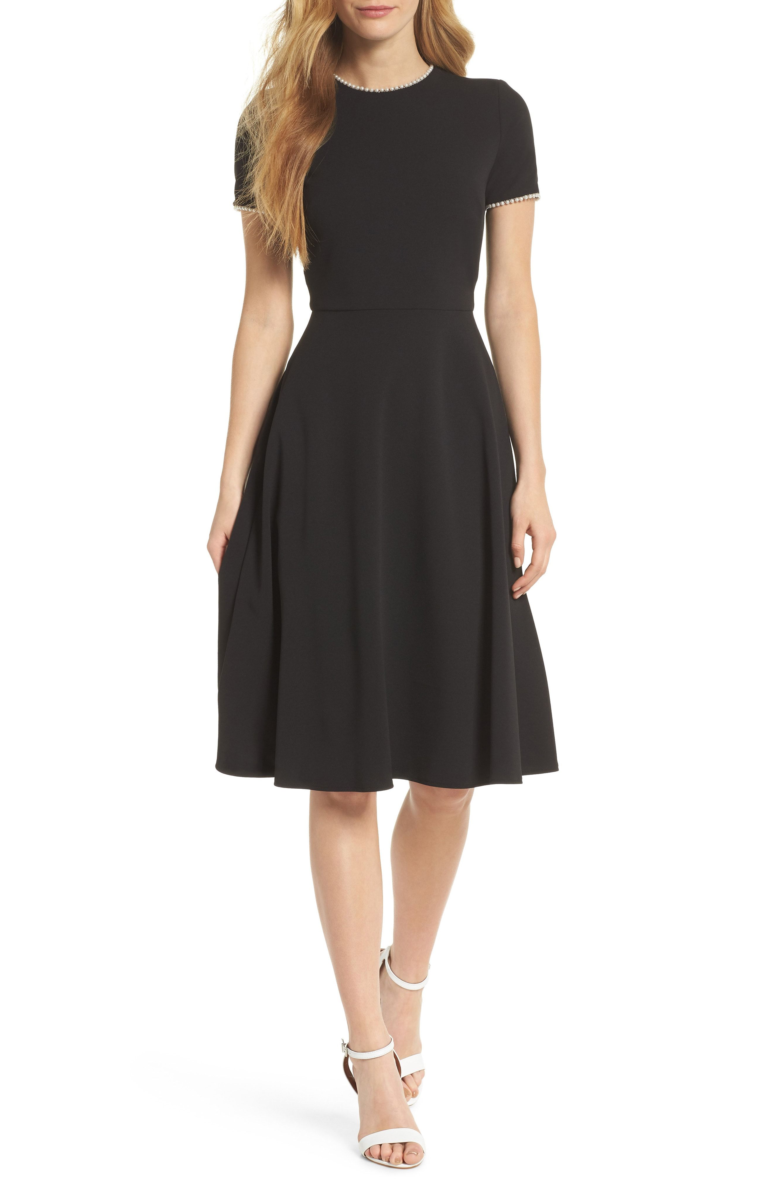 b732a7372200 Gal Meets Glam Collection Victoria Pearly Trim Fit   Flare Dress available  at  Nordstrom