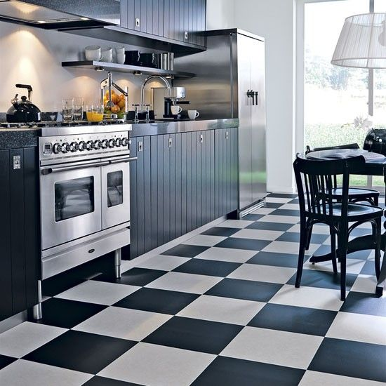Black white floor tiles kitchen floor tiles for an elegant for Kitchen set hitam putih