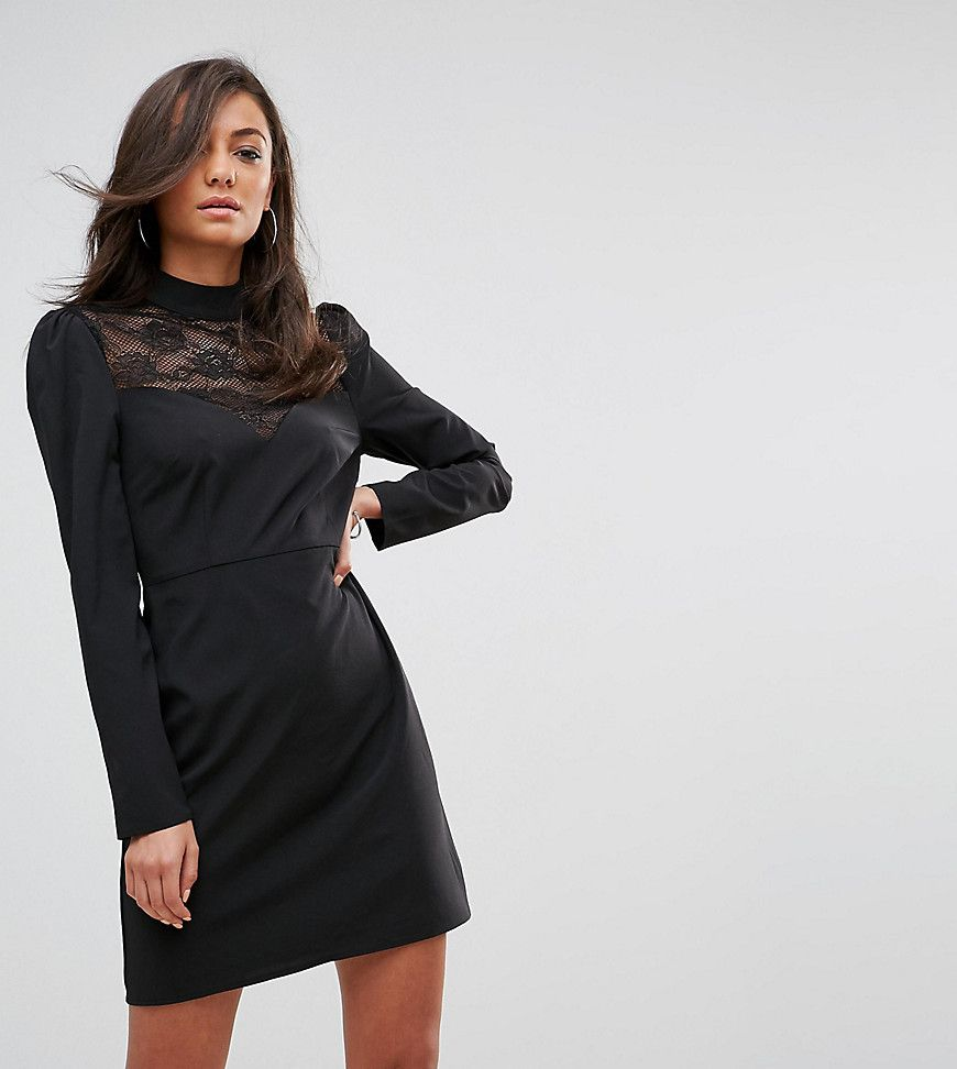 Fashion union tall long sleeve dress with high neck in lace black
