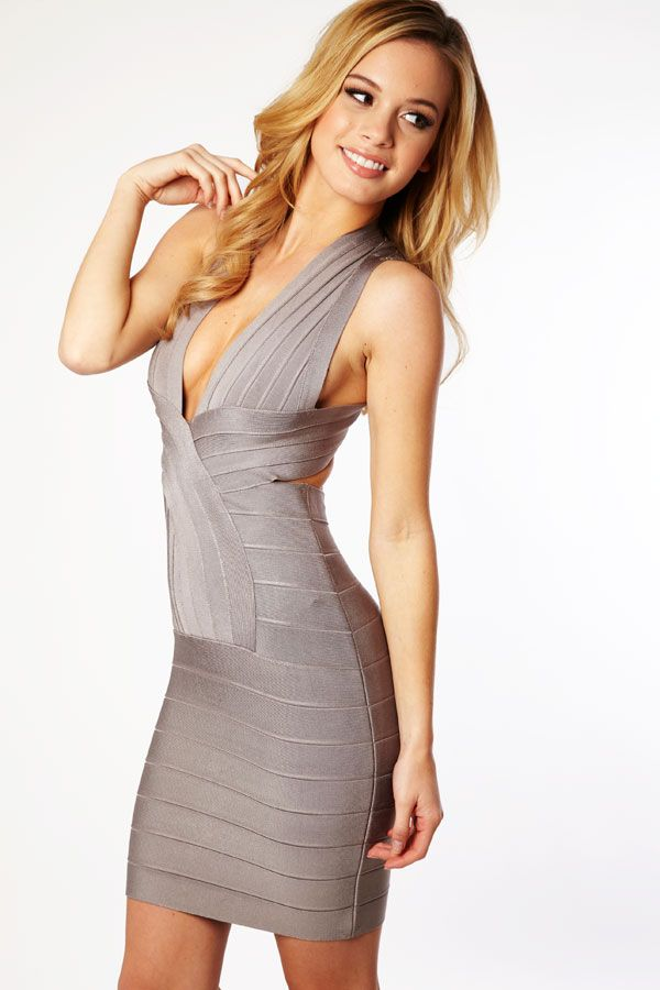 Clothing : Bandage Dresses : 'Vanessa' Grey Deep V Backless ...