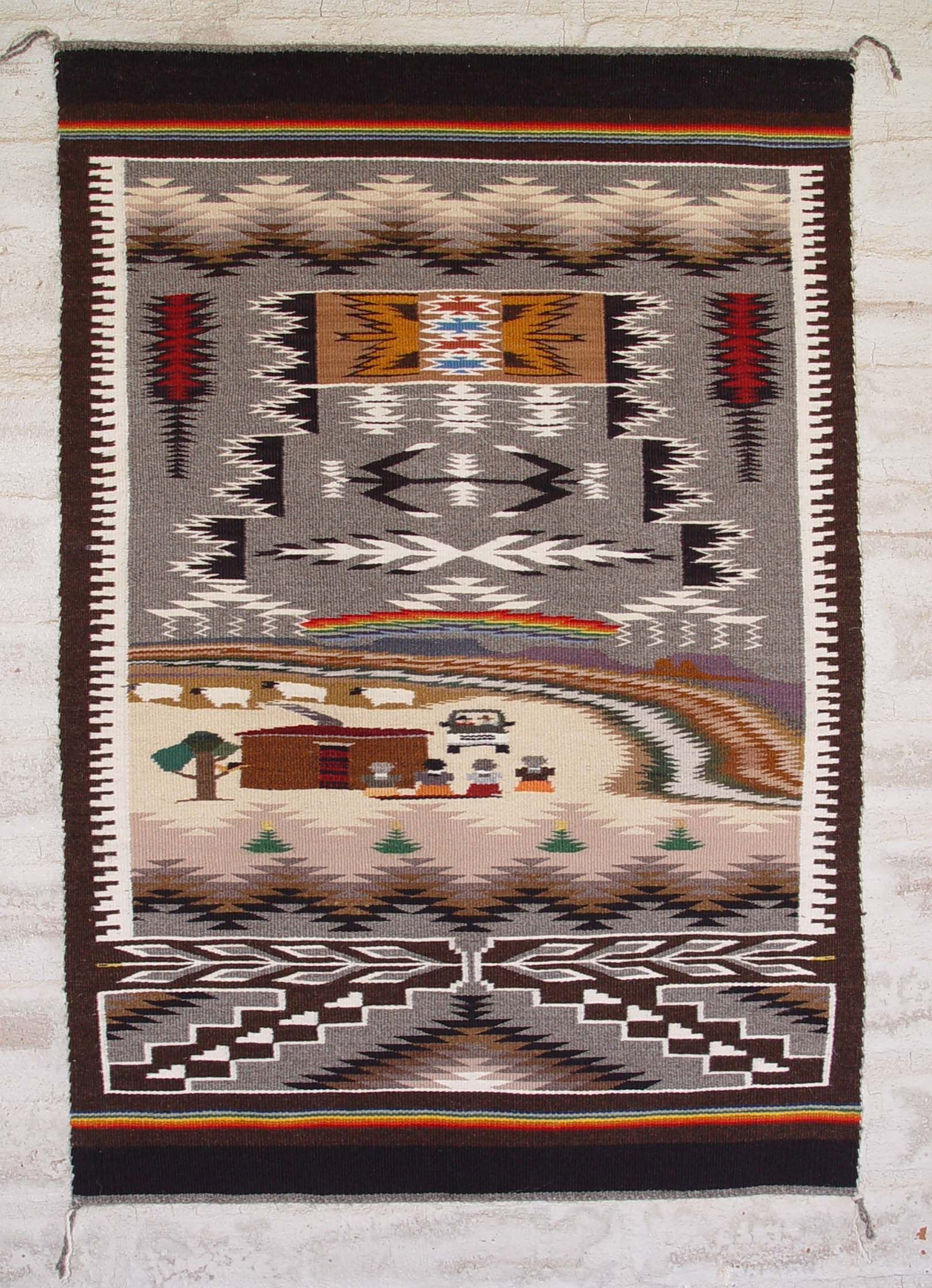 Blue Canyon Pictorial Navajo Rug Burnham Area Woven By Lorrain Barber 25 X 38