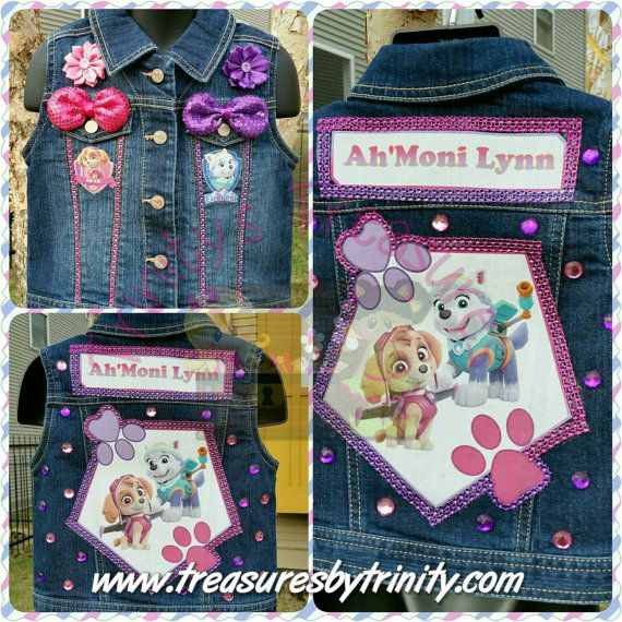 Personalised Girls Denim Purse With PuppyDog With Pink Bow