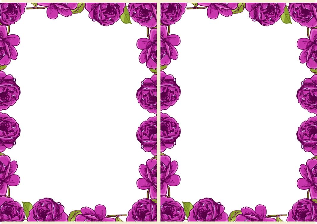 Free Digital Purple Rose Frame And Border In Vintage Design U2013 Rosenranke U2013  Freebie | MeinLilaPark  Printable Bordered Paper Designs Free