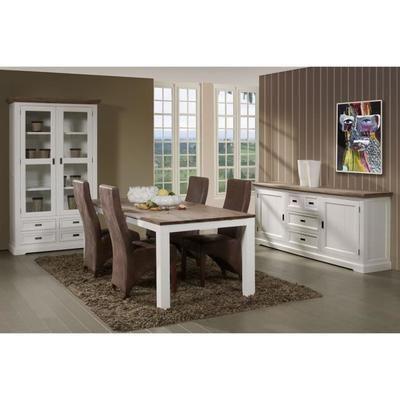 Ensemble salle à manger complète en bois massif coloris blanc et