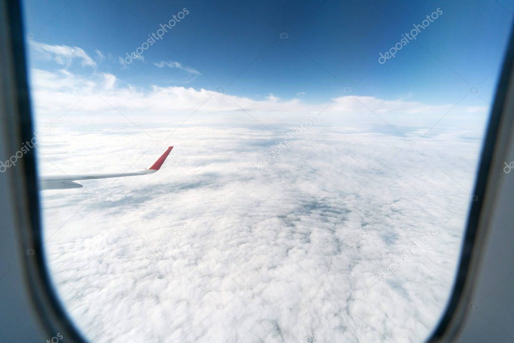 Airplane Window View To Cloudy Sky Beautiful Landscape From Aircraft Cabin Fly Ad Cloudy Sky V In 2020 Airplane Window View Window View Beautiful Landscapes