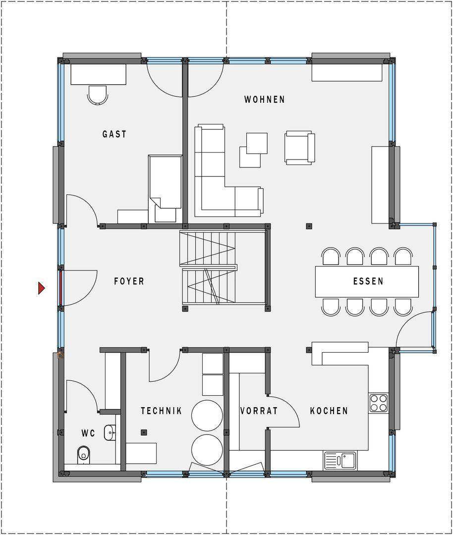 grundriss erdgeschoss huf haus modum 8 10 house. Black Bedroom Furniture Sets. Home Design Ideas