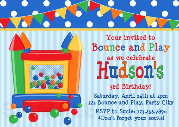 Bounce House Invitations Polka Dot Bounce by TheTrendyButterfly,