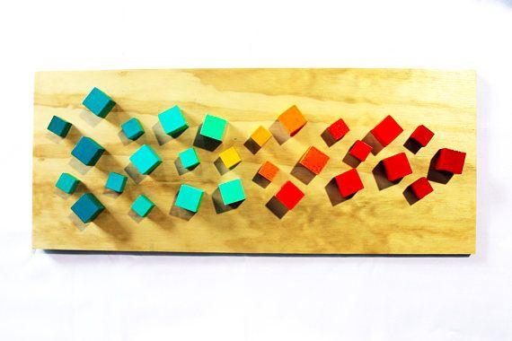 3D Wall Sculpture | Colorful Wall Art | Modern Art | 3D Wood Art ...