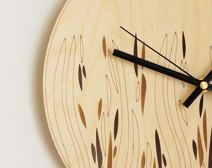 Wood wall art / Abstract wall clock / Laser cut wood / Wooden wall ...