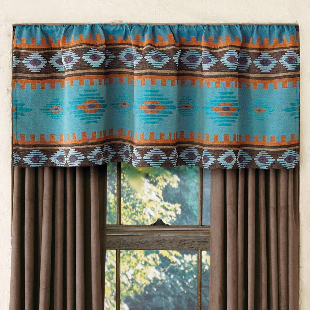 Skystone Turquoise Rod Pocket Southwest Valance Western Curtains Valance Curtains Window Treatments