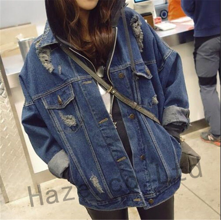 Women Ladies Blue Studded Loose Fit Denim Collar Jacket Jean Hole Coat