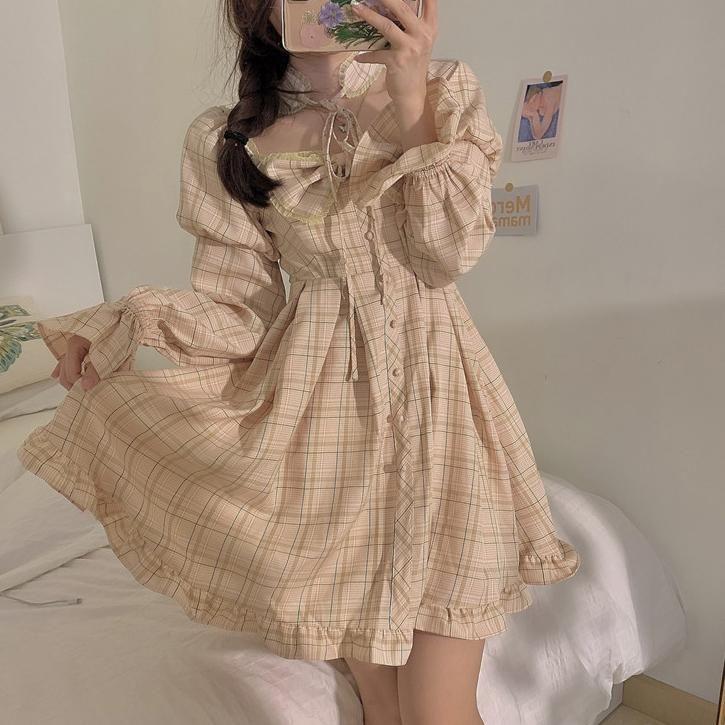 Sweet Plaid Bow Dress SD01035 - One Size