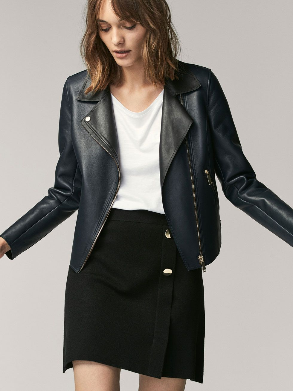 Spring summer 2017 Women´s TWO-TONE NAPPA BIKER JACKET at Massimo Dutti for