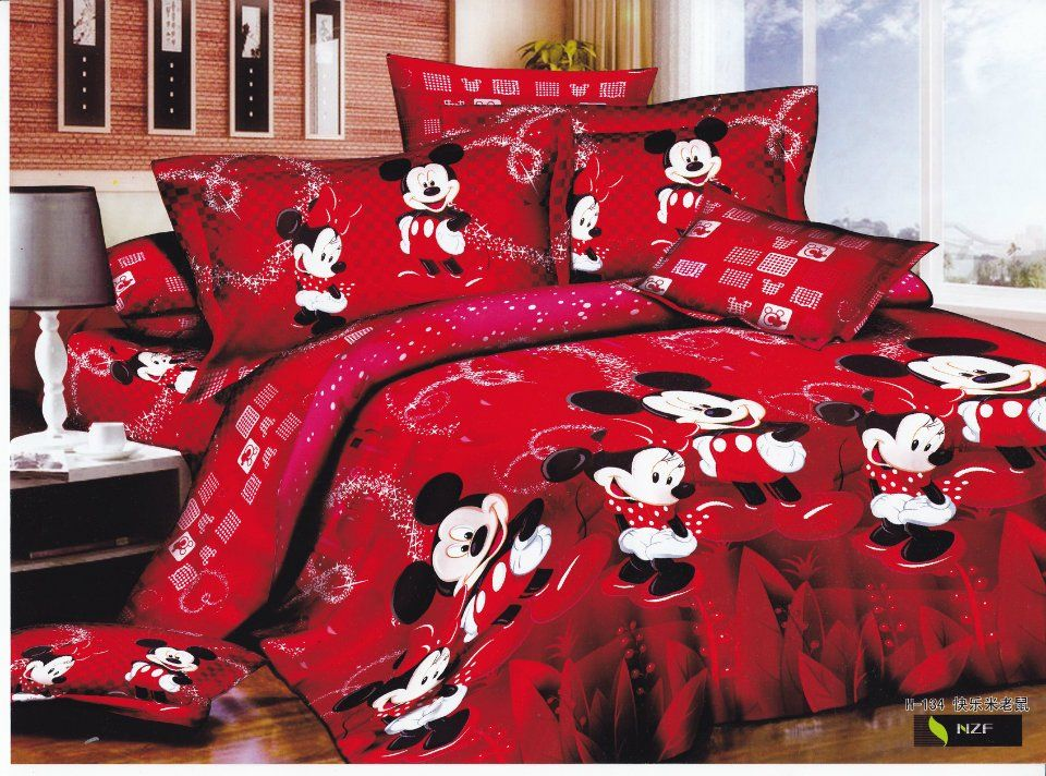 red mickey mouse bedding sets cartoon pattern children's quilt or duvet covers sets 4pc for Egyptian cotton full/queen comforter on AliExpress.com. $89.99