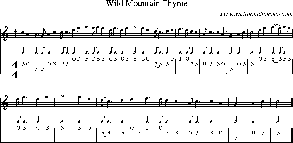 All Music Chords his eye is on the sparrow music sheet : Mandolin Tab and Sheet Music for Wild Mountain Thyme | Music ...
