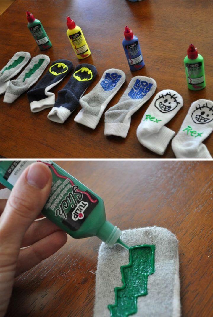 kids use fabric paint to create custom gripper socks to prevent falls on slippery floors.