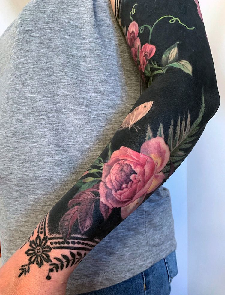 These Flower Tattoos with Deep Black Backgrounds T