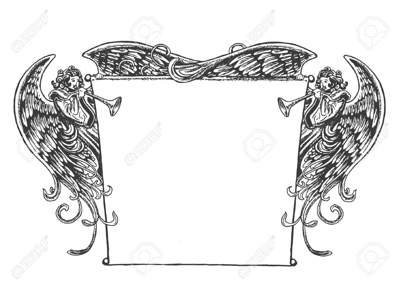 Angel Banner, Vintage Style. Old fashioned drawing of angels holding up a banner while blowing on trumpets. Style is reminiscent of woodcut or engraved period art. ,