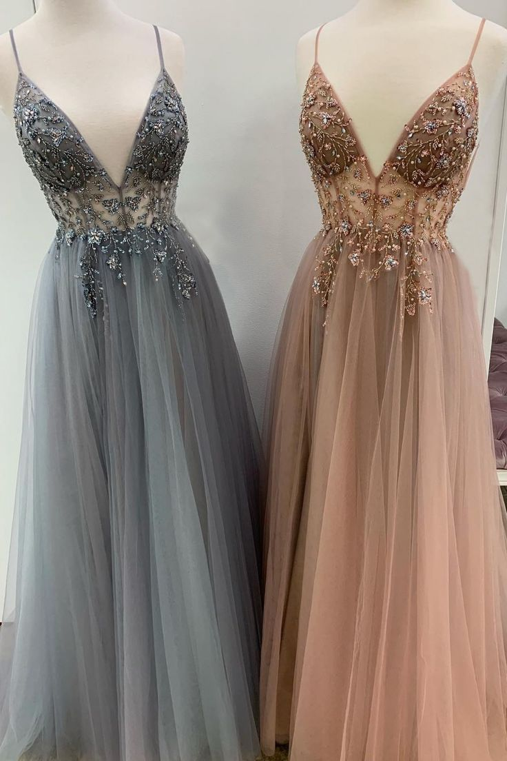 Sparkly Prom Dresses Aline Spaghetti-Trägern Long Grey Prom Dress Fashion Abendkleid JKL1635 - Eventplanung #promdresses