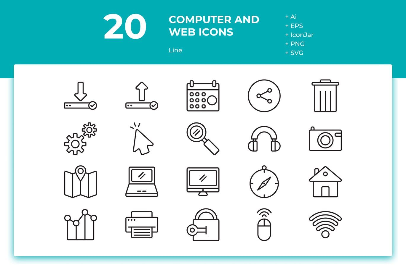 20 Computer and Web Icons (Line) AI, EPS. Download