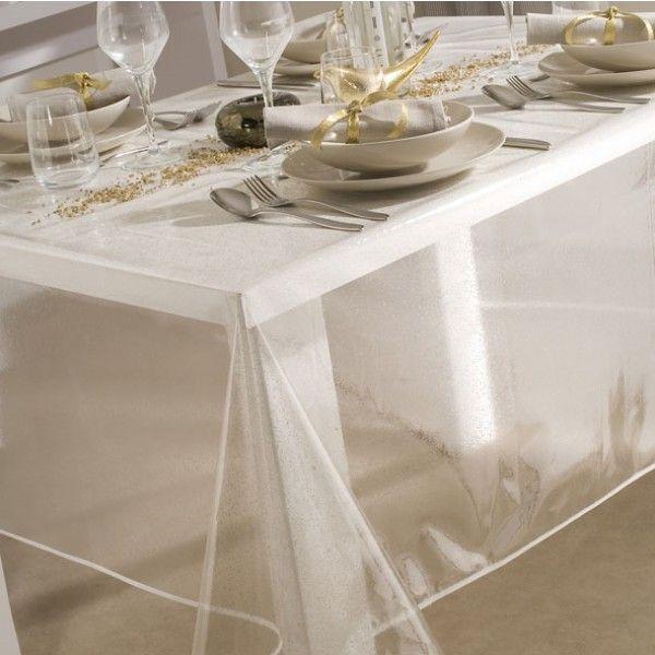 Toile cir e au m tre transparente imprim e paillet argent - Nappe plastique transparente pour table ...