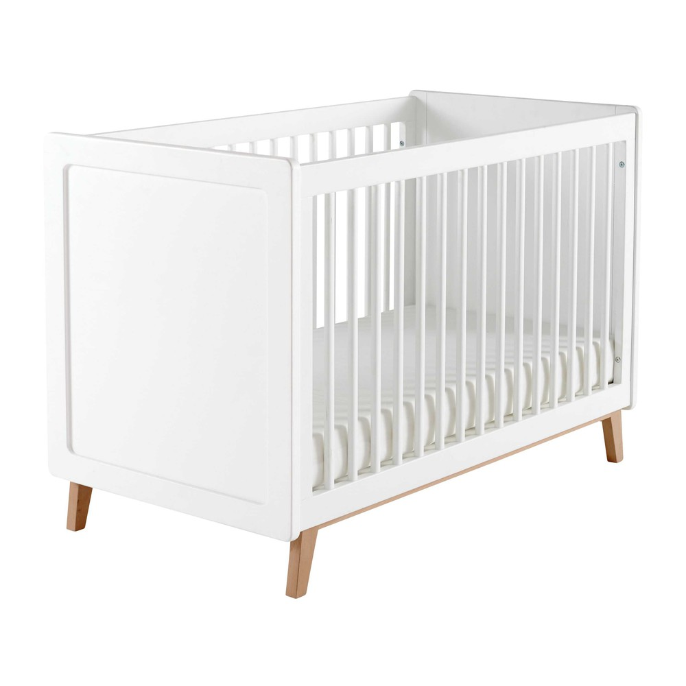 Cuna con barrotes de madera blanca L 126 cm | Kids room | Pinterest ...