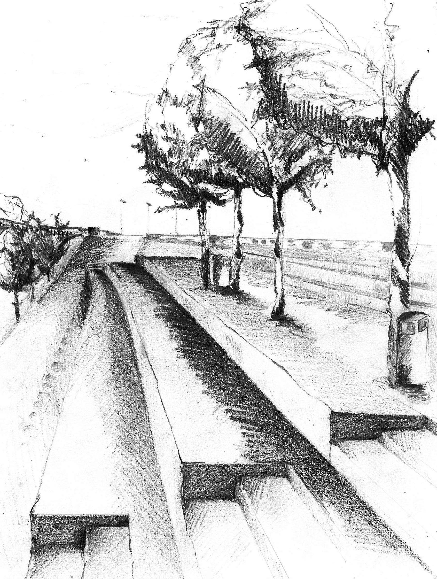 Dessiner Un Paysage En Perspective : dessiner, paysage, perspective, Ville, Dessin, Croquis, Urbain,, Paysage,, Perspective