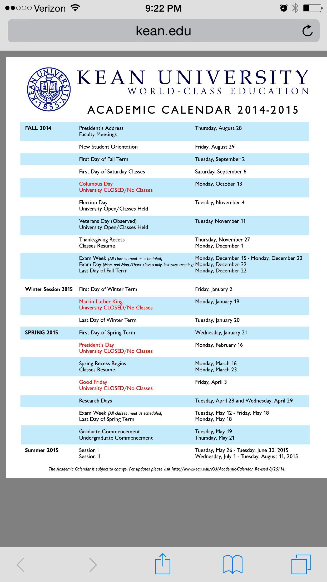 Academic Calendar Academic Calendar New Student Orientation