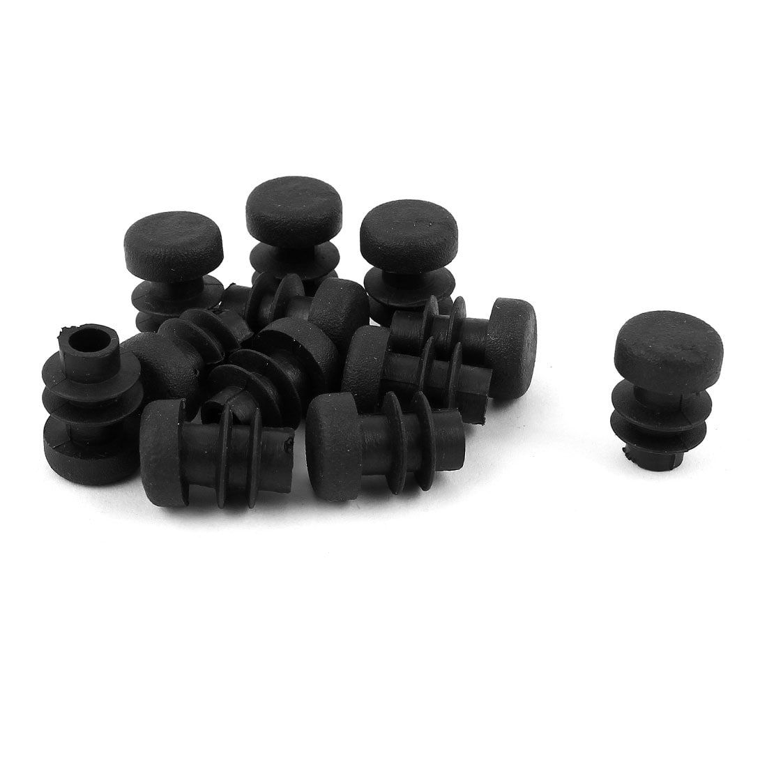 Nhbr Plastic Round Tubing Tube Insert Plug Cap Bung 28mm Dia 20pcs Black Furniture
