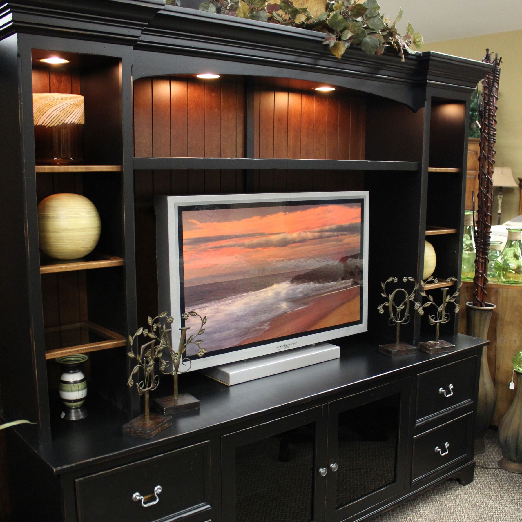 Pin By Rachel Gerhardt On Inspire Living Room Black Entertainment Centers Living Room Entertainment Entertainment Center