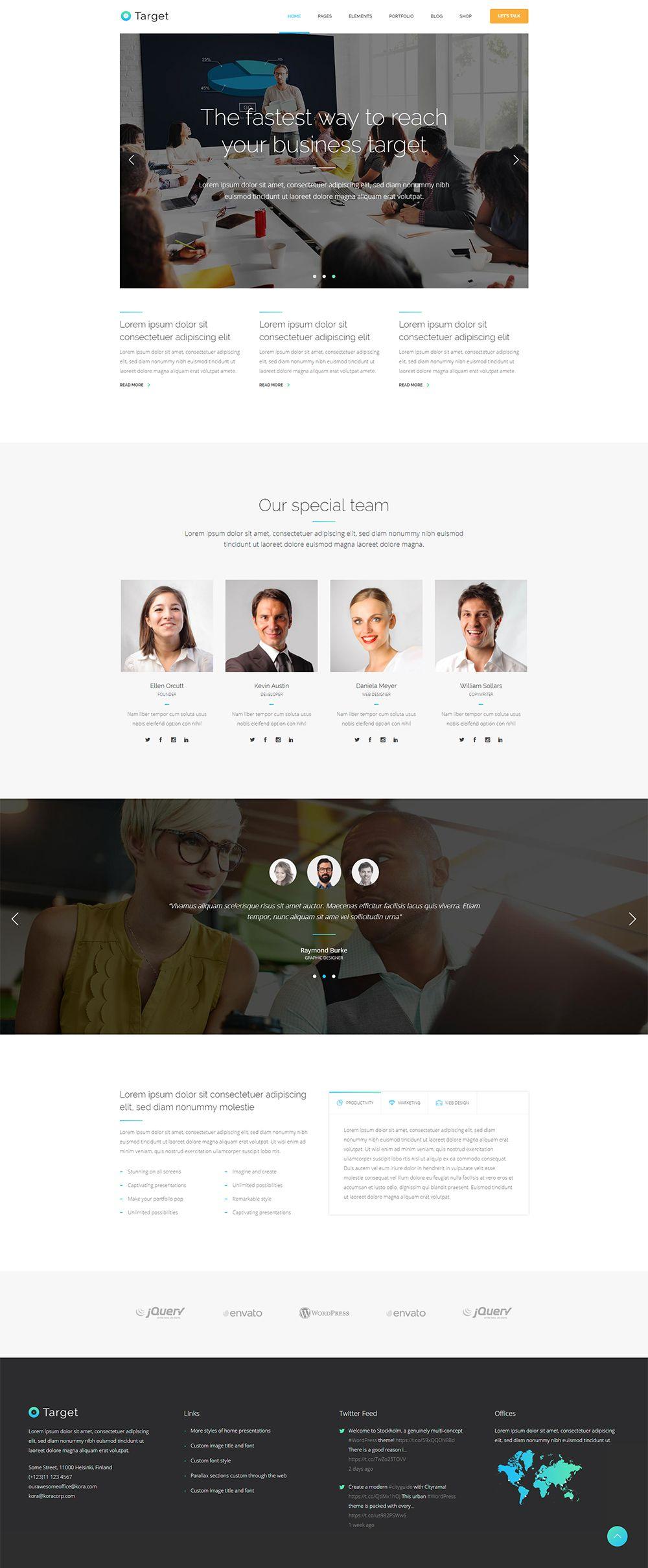 Target Corporate Home Website Creation Business Wordpress Themes Modern Web Design