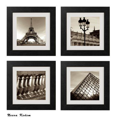 Vintage Paris by Neeva Kedem - 4 Piece Picture Frame Photograph Print Set on Paper #pictureplacemeant