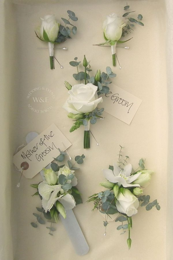 Clic White Rose And Eucalyptus Onholes Corsages By Wedding