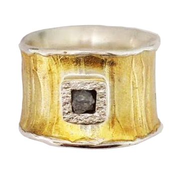 """13mm sterling silver & 18K vermeil ring with """"painted strokes"""" texture: raw diamond cube set in ss square in ring from eva stone."""