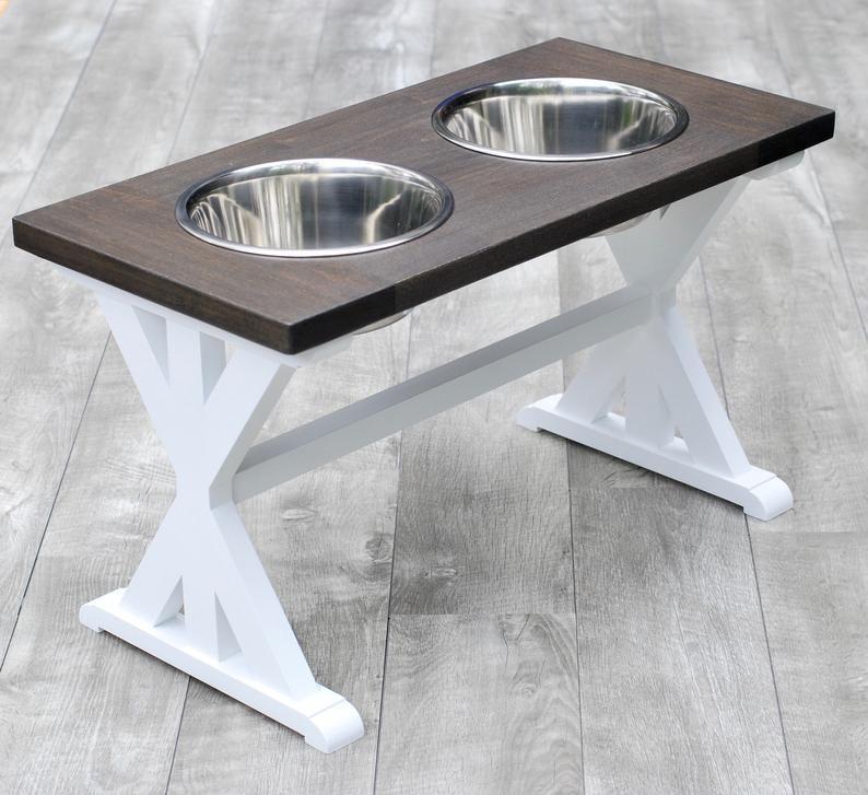 Extra Large Farmhouse Dog Bowl Stand