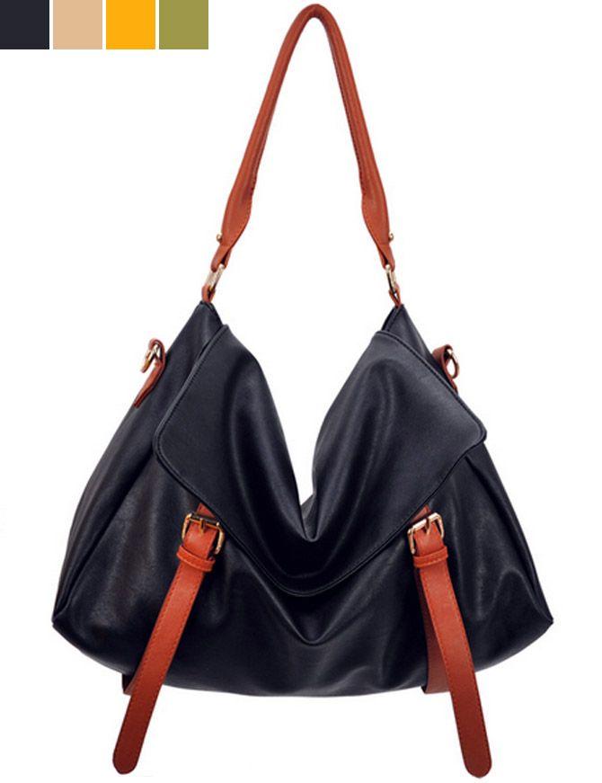 Black PU Cross Paragraph Square Women Shoulder Bags #PU#shoulder bag#black#fashion