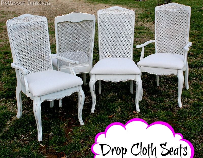 Easy Drop Cloth Idea For Covering Fabric Chair Seats & Easy Drop Cloth Idea For Covering Fabric Chair Seats | White paints ...