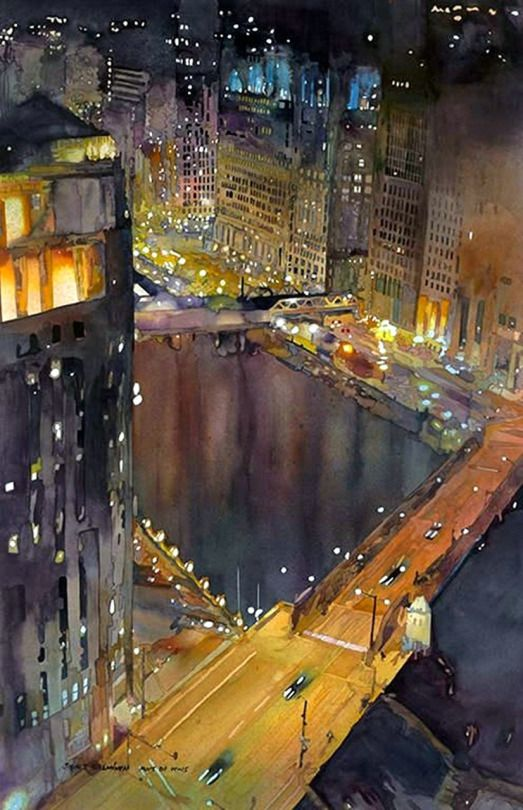 John Salminen (American, b. 1945, based Duluth, MN, USA) - Chicago River, 2013  Paintings: Watercolors.  RedLipstick Resurrected