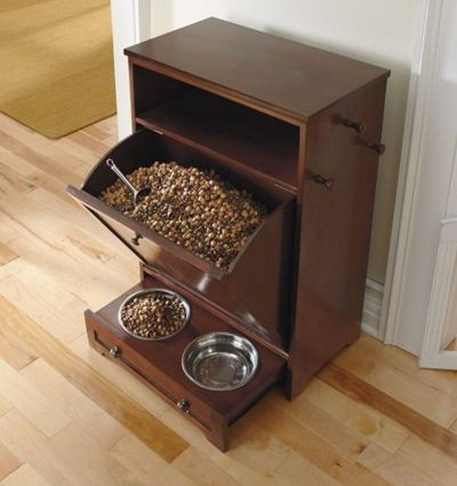 Dog Food Storage Cabinet With Bowls Slide In Drawer Hooks