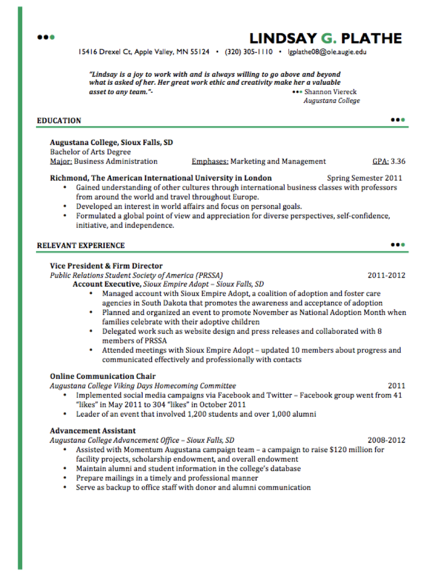 No Shortage Of Experience  Resume Examples